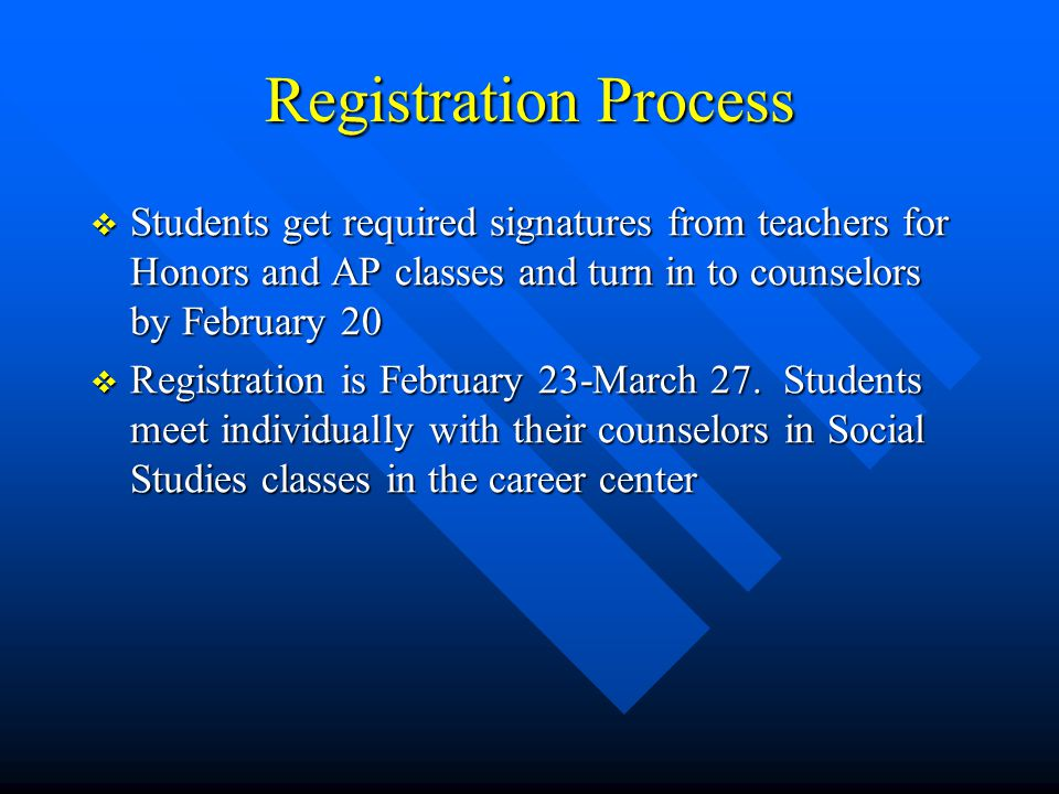 Registration Process  Students get required signatures from teachers for Honors and AP classes and turn in to counselors by February 20  Registratio