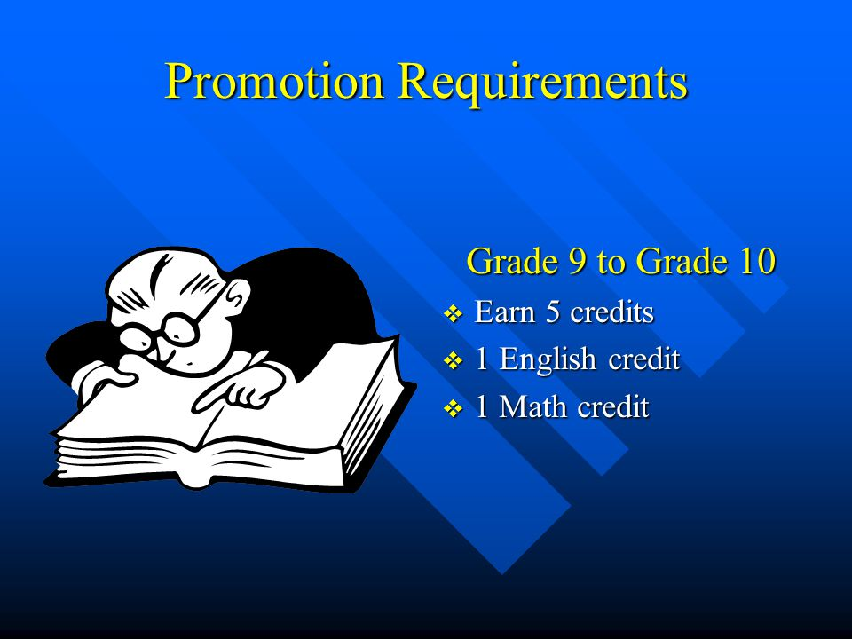 Promotion Requirements Grade 9 to Grade 10  Earn 5 credits  1 English credit  1 Math credit