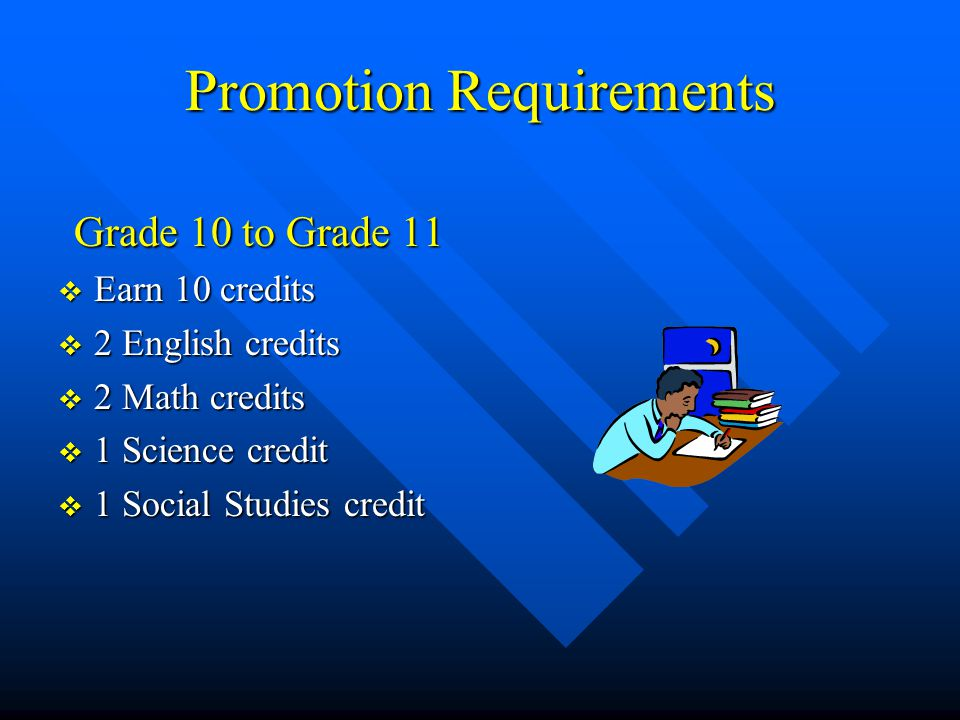 Promotion Requirements Grade 10 to Grade 11  Earn 10 credits  2 English credits  2 Math credits  1 Science credit  1 Social Studies credit