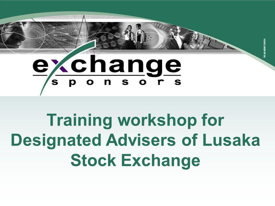Training workshop for Designated Advisers of Lusaka Stock Exchange