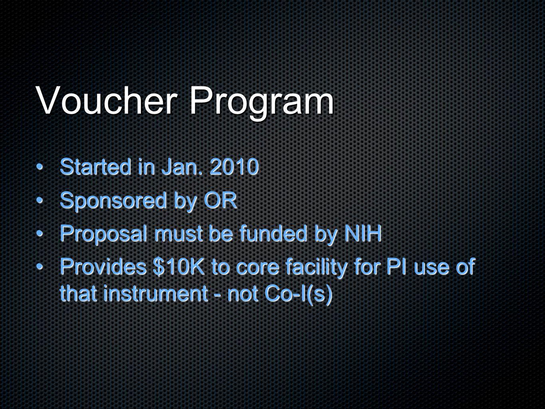 Voucher Program Started in Jan. 2010Started in Jan.