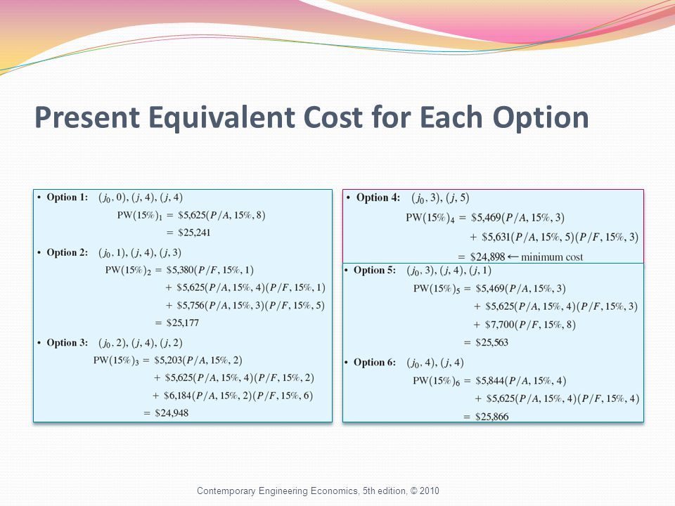 Present Equivalent Cost for Each Option Contemporary Engineering Economics, 5th edition, © 2010