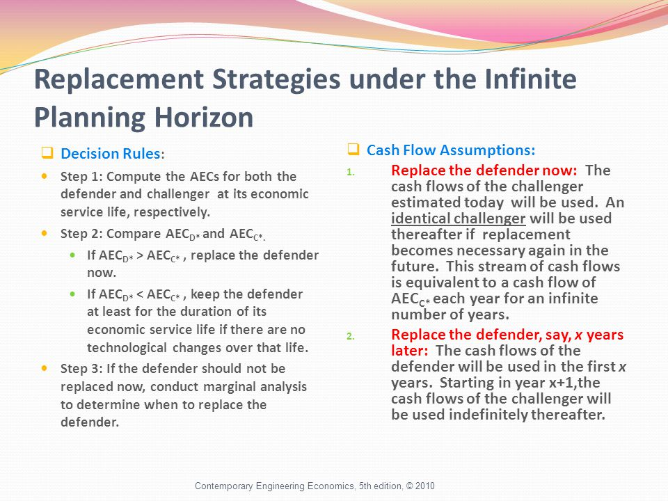 Replacement Strategies under the Infinite Planning Horizon  Decision Rules : Step 1: Compute the AECs for both the defender and challenger at its economic service life, respectively.