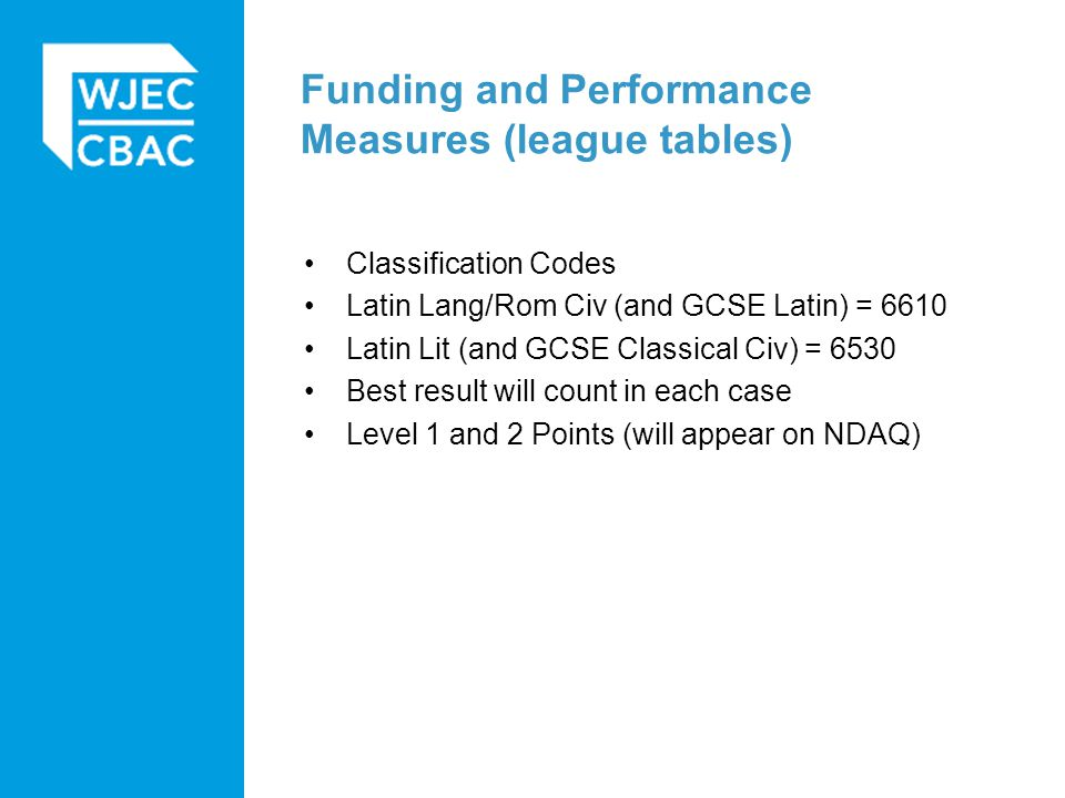 Funding and Performance Measures (league tables) Classification Codes Latin Lang/Rom Civ (and GCSE Latin) = 6610 Latin Lit (and GCSE Classical Civ) = 6530 Best result will count in each case Level 1 and 2 Points (will appear on NDAQ)