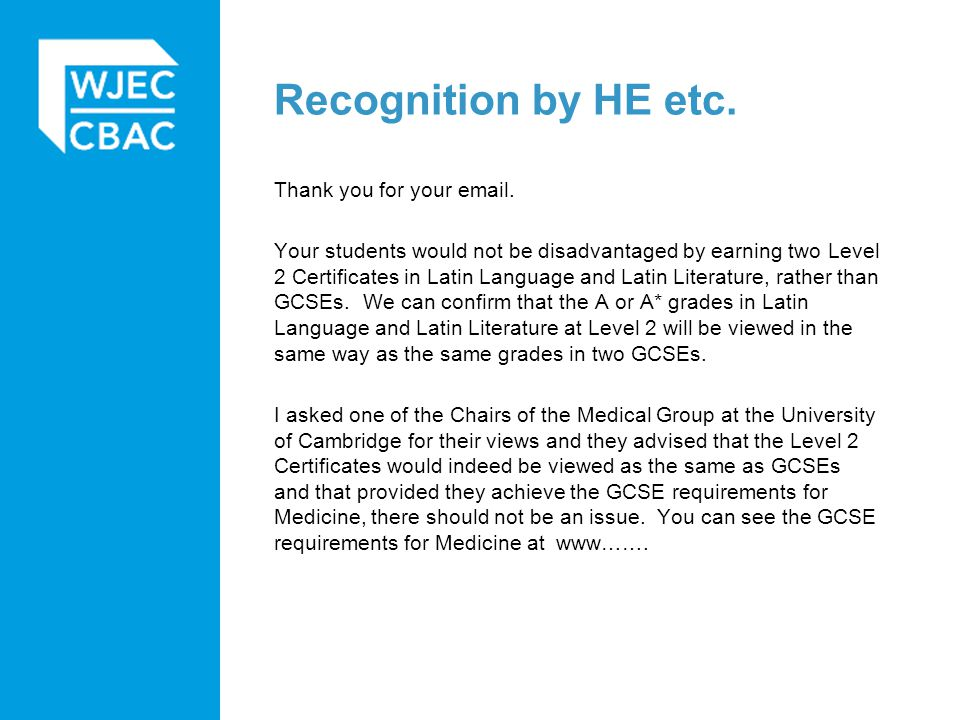 Recognition by HE etc. Thank you for your email.
