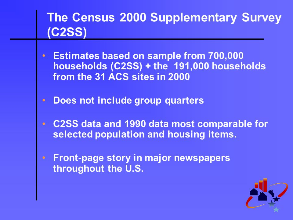 The Census 2000 Supplementary Survey (C2SS) Estimates based on sample from 700,000 households (C2SS) + the 191,000 households from the 31 ACS sites in 2000 Does not include group quarters C2SS data and 1990 data most comparable for selected population and housing items.