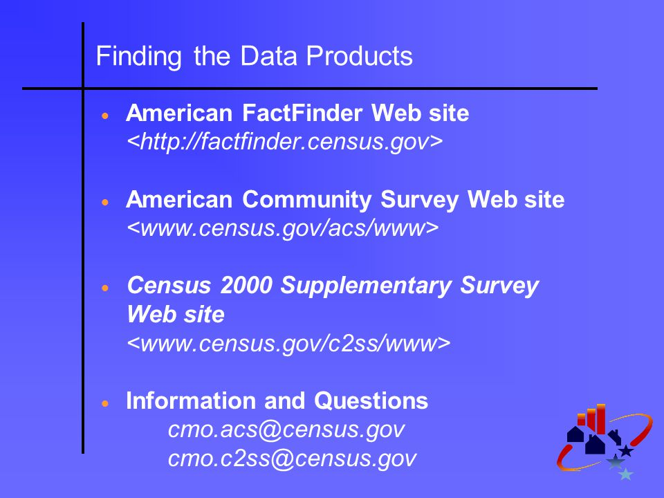 Finding the Data Products  American FactFinder Web site  American Community Survey Web site  Census 2000 Supplementary Survey Web site  Information and Questions cmo.acs@census.gov cmo.c2ss@census.gov
