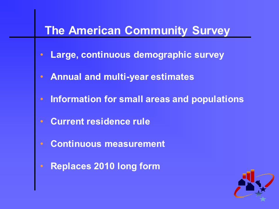 The American Community Survey Large, continuous demographic survey Annual and multi-year estimates Information for small areas and populations Current residence rule Continuous measurement Replaces 2010 long form