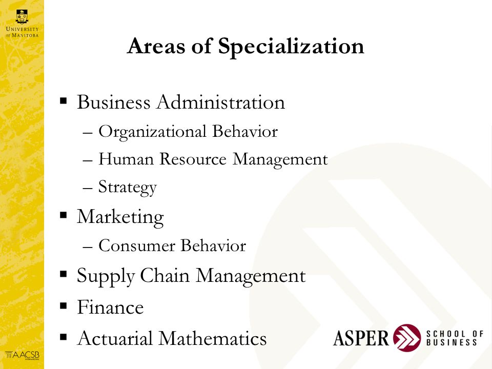Areas of Specialization  Business Administration –Organizational Behavior –Human Resource Management –Strategy  Marketing –Consumer Behavior  Supply Chain Management  Finance  Actuarial Mathematics