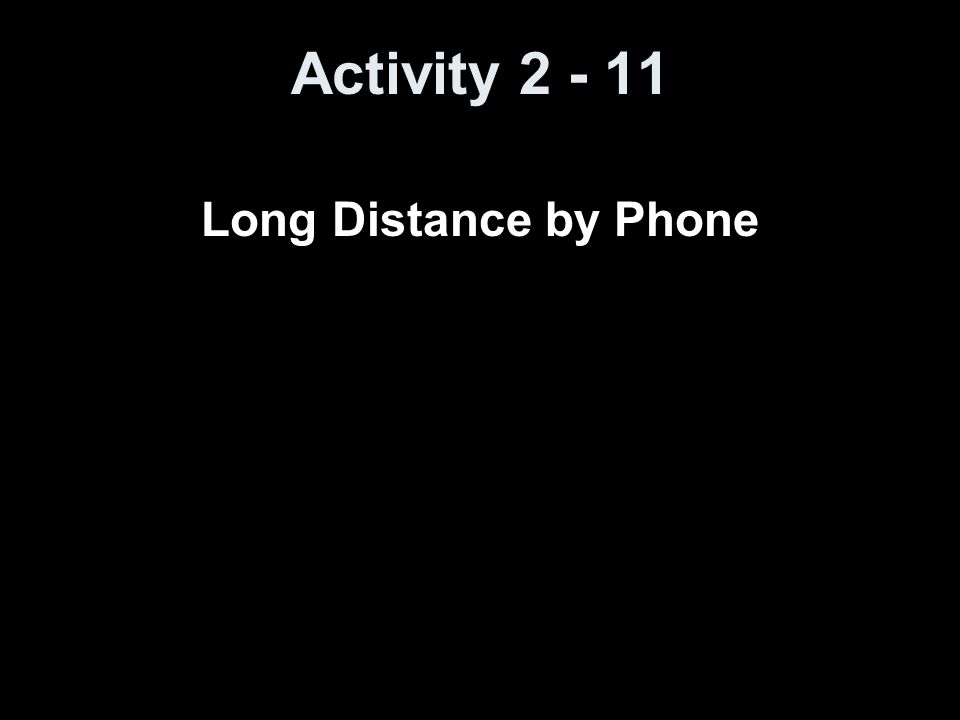 Activity 2 - 11 Long Distance by Phone
