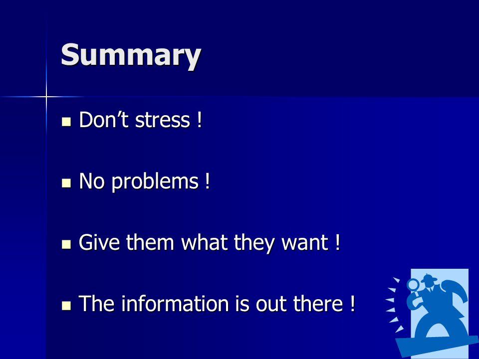 Summary Don't stress .Don't stress . No problems .