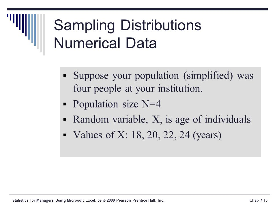 Statistics for Managers Using Microsoft Excel, 5e © 2008 Pearson Prentice-Hall, Inc.Chap 7-15 Sampling Distributions Numerical Data  Suppose your pop