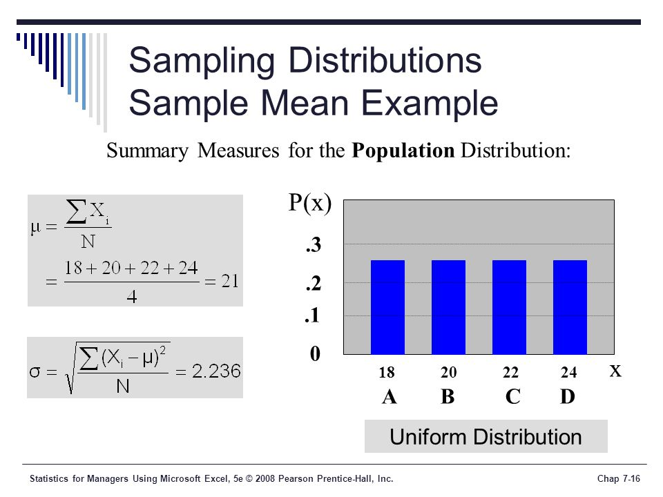 Statistics for Managers Using Microsoft Excel, 5e © 2008 Pearson Prentice-Hall, Inc.Chap 7-16 Sampling Distributions Sample Mean Example Summary Measu