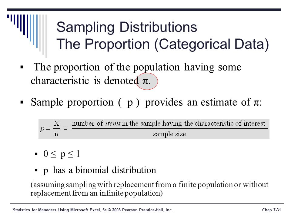 Statistics for Managers Using Microsoft Excel, 5e © 2008 Pearson Prentice-Hall, Inc.Chap 7-31 Sampling Distributions The Proportion (Categorical Data)