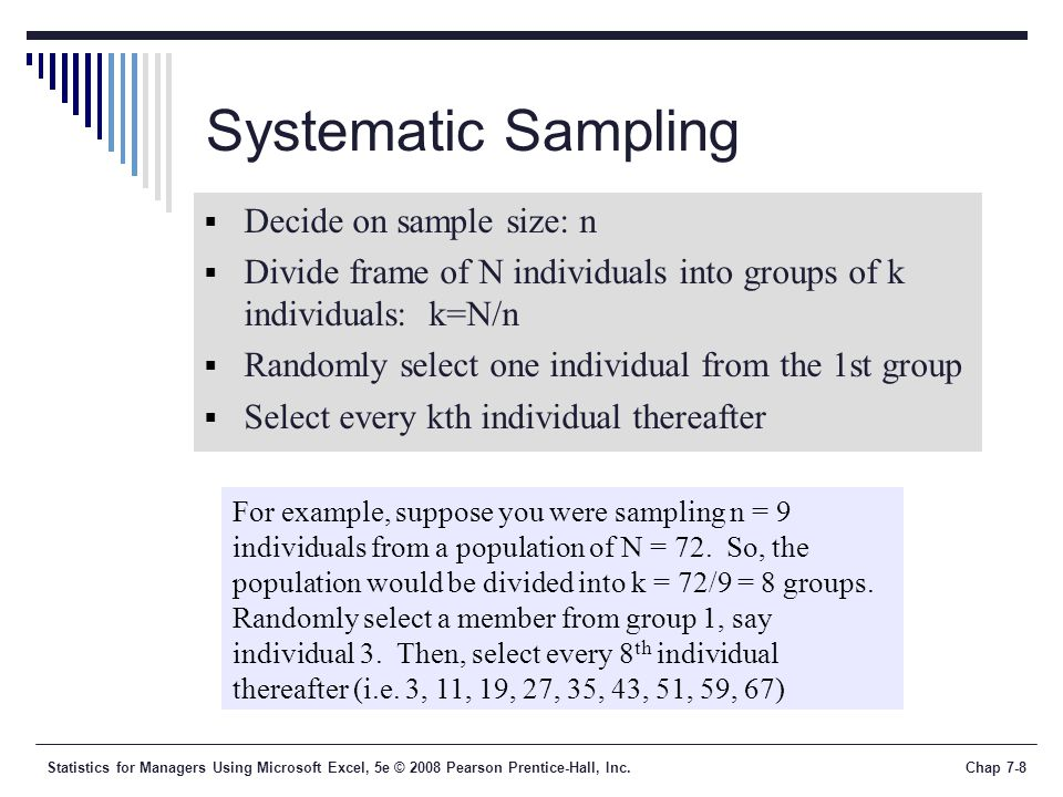 Statistics for Managers Using Microsoft Excel, 5e © 2008 Pearson Prentice-Hall, Inc.Chap 7-9 Stratified Sampling  Divide population into two or more subgroups (called strata) according to some common characteristic.