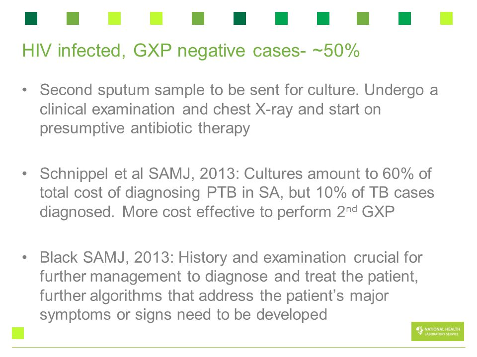 HIV infected, GXP negative cases- ~50% Second sputum sample to be sent for culture.