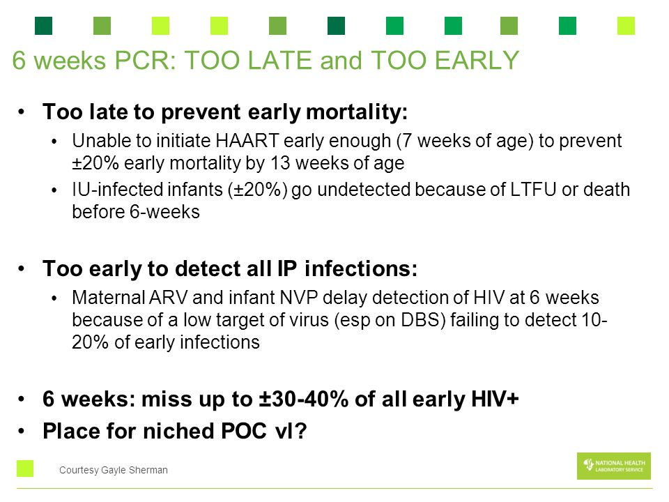 6 weeks PCR: TOO LATE and TOO EARLY Too late to prevent early mortality: Unable to initiate HAART early enough (7 weeks of age) to prevent ±20% early