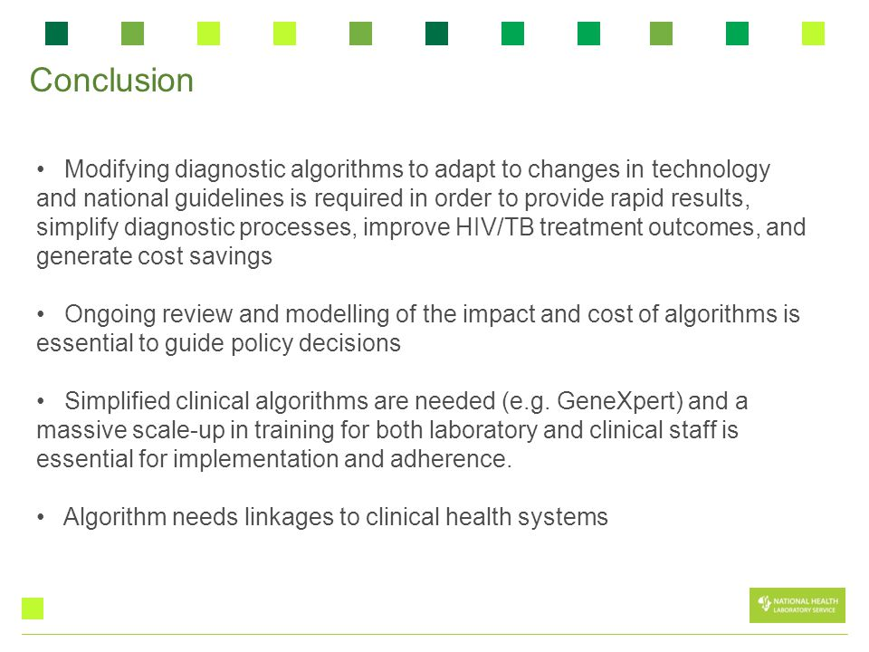 Modifying diagnostic algorithms to adapt to changes in technology and national guidelines is required in order to provide rapid results, simplify diag