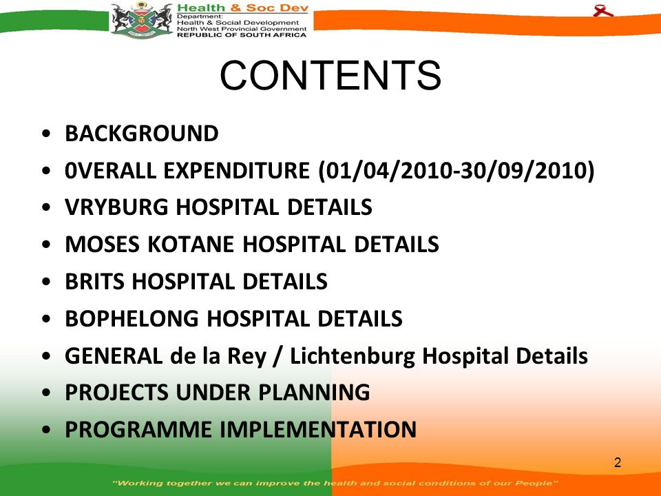 BOPHELONG HOSPITAL DETAILS...continues Reporting and Coordination within Departments – The Department of Public Works, Roads and Transport provides monthly technical and financial report which is assessed and confirmed by the Department.