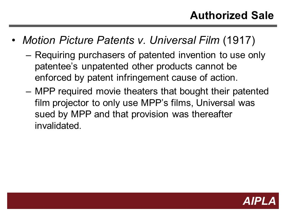 5 5 AIPLA Firm Logo Authorized Sale Motion Picture Patents v.