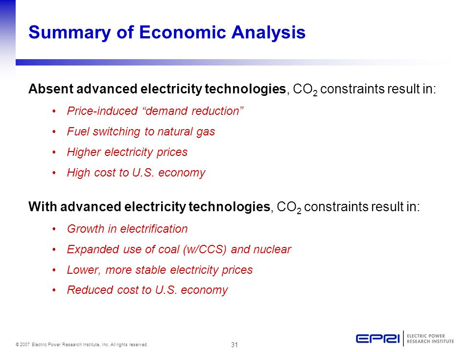31 © 2007 Electric Power Research Institute, Inc. All rights reserved. Summary of Economic Analysis Absent advanced electricity technologies, CO 2 con