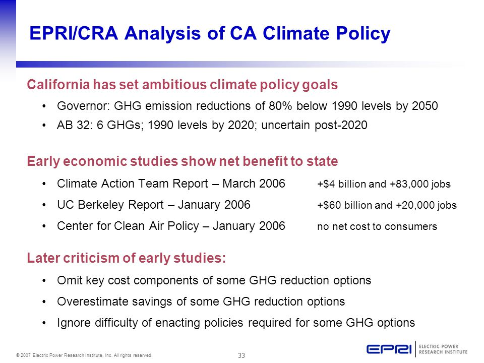 33 © 2007 Electric Power Research Institute, Inc. All rights reserved. EPRI/CRA Analysis of CA Climate Policy California has set ambitious climate pol