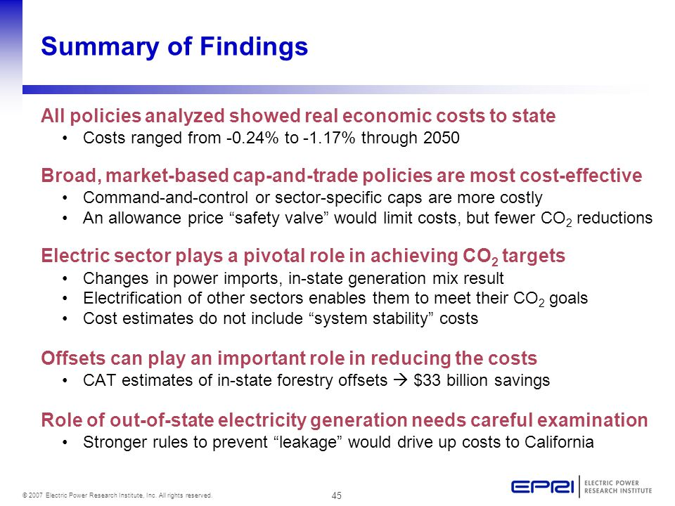 45 © 2007 Electric Power Research Institute, Inc. All rights reserved. Summary of Findings All policies analyzed showed real economic costs to state C