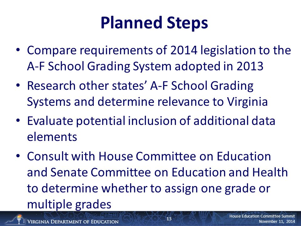 House Education Committee Summit November 11, 2014 Planned Steps Compare requirements of 2014 legislation to the A-F School Grading System adopted in