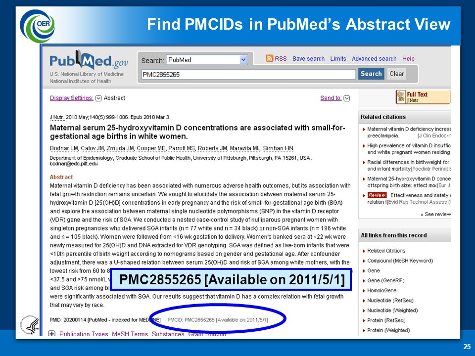 25 Find PMCIDs in PubMed's Abstract View PMC2855265 [Available on 2011/5/1]