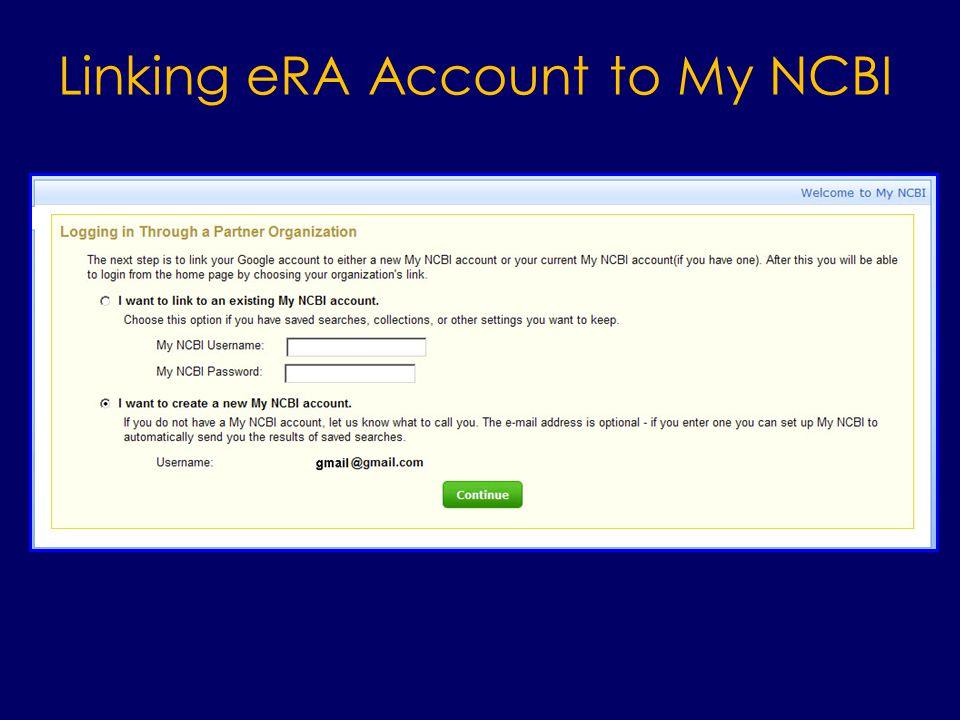 Linking eRA Account to My NCBI