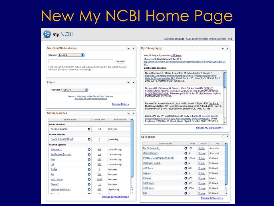 New My NCBI Home Page