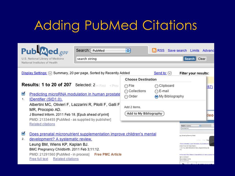 Adding PubMed Citations