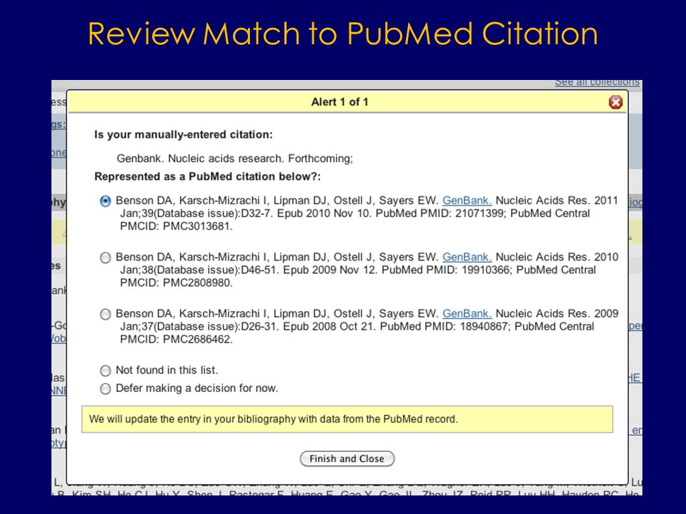 Review Match to PubMed Citation