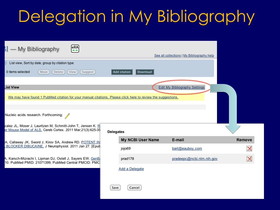 Delegation in My Bibliography