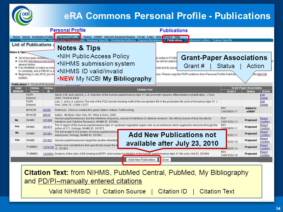 54 eRA Commons Personal Profile - Publications Personal Profile Notes & Tips NIH Public Access Policy NIHMS submission system NIHMS ID valid/invalid NEW My NCBI My Bibliography Grant-Paper Associations Grant # | Status | Action Citation Text: from NIHMS, PubMed Central, PubMed, My Bibliography and PD/PI–manually entered citations Valid NIHMSID | Citation Source | Citation ID | Citation Text Add New Publications not available after July 23, 2010 Publications