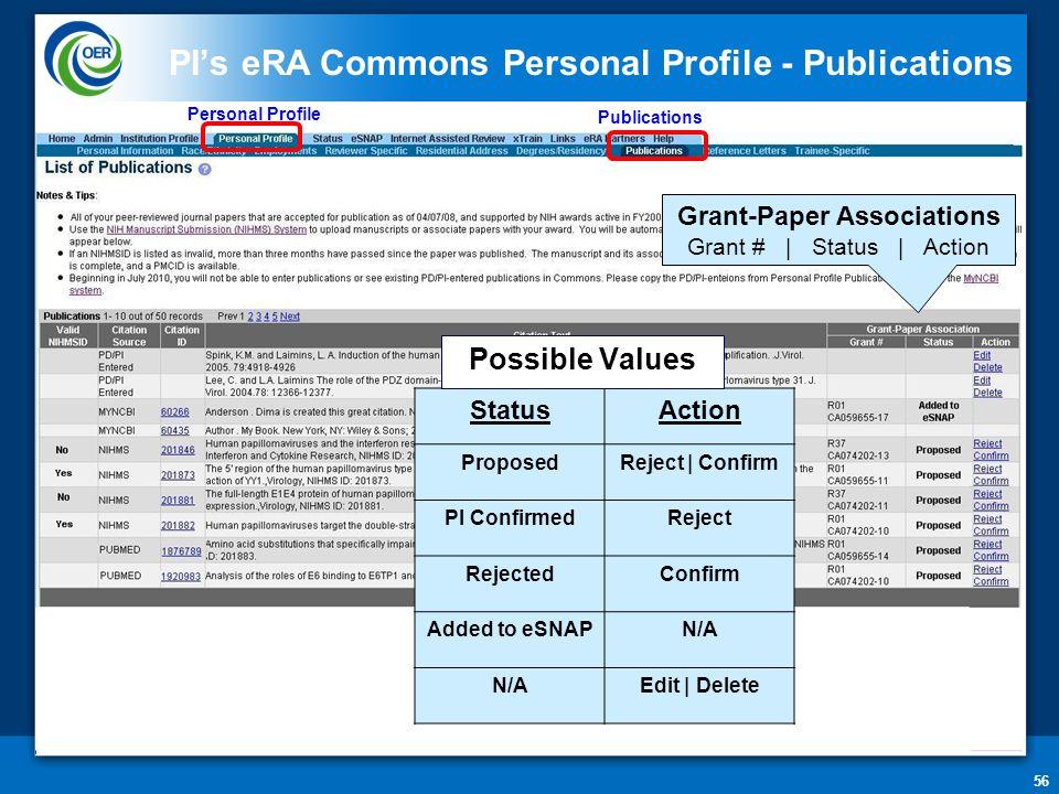 56 PI's eRA Commons Personal Profile - Publications Publications Grant-Paper Associations Grant # | Status | Action StatusAction ProposedReject | Confirm PI ConfirmedReject RejectedConfirm Added to eSNAPN/A Edit | Delete Possible Values Personal Profile