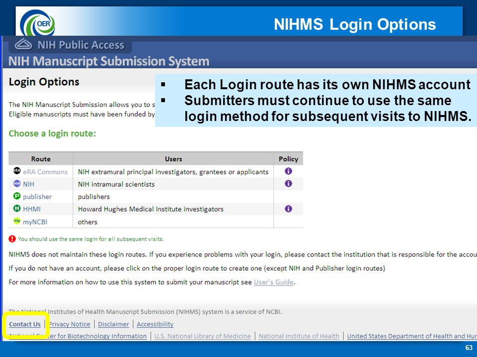 63  Each Login route has its own NIHMS account  Submitters must continue to use the same login method for subsequent visits to NIHMS.