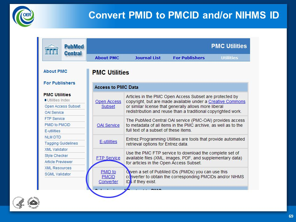 69 Convert PMID to PMCID and/or NIHMS ID