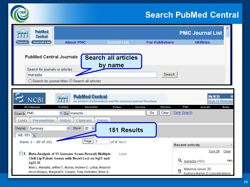 71 Search PubMed Central Search all articles by name 151 Results