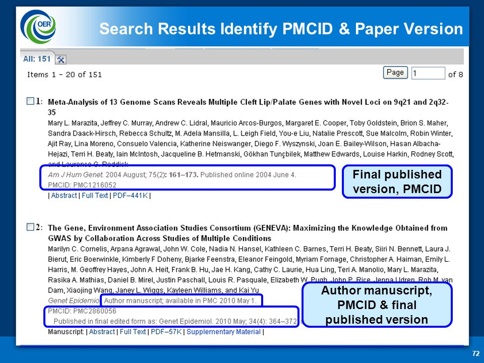 Search Results Identify PMCID & Paper Version Author manuscript, PMCID & final published version Final published version, PMCID 72