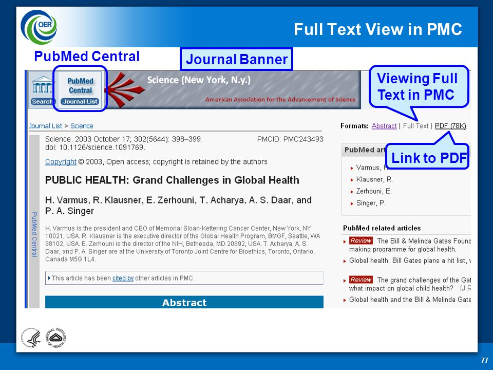 77 Full Text View in PMC PubMed Central Journal Banner Link to PDF Viewing Full Text in PMC