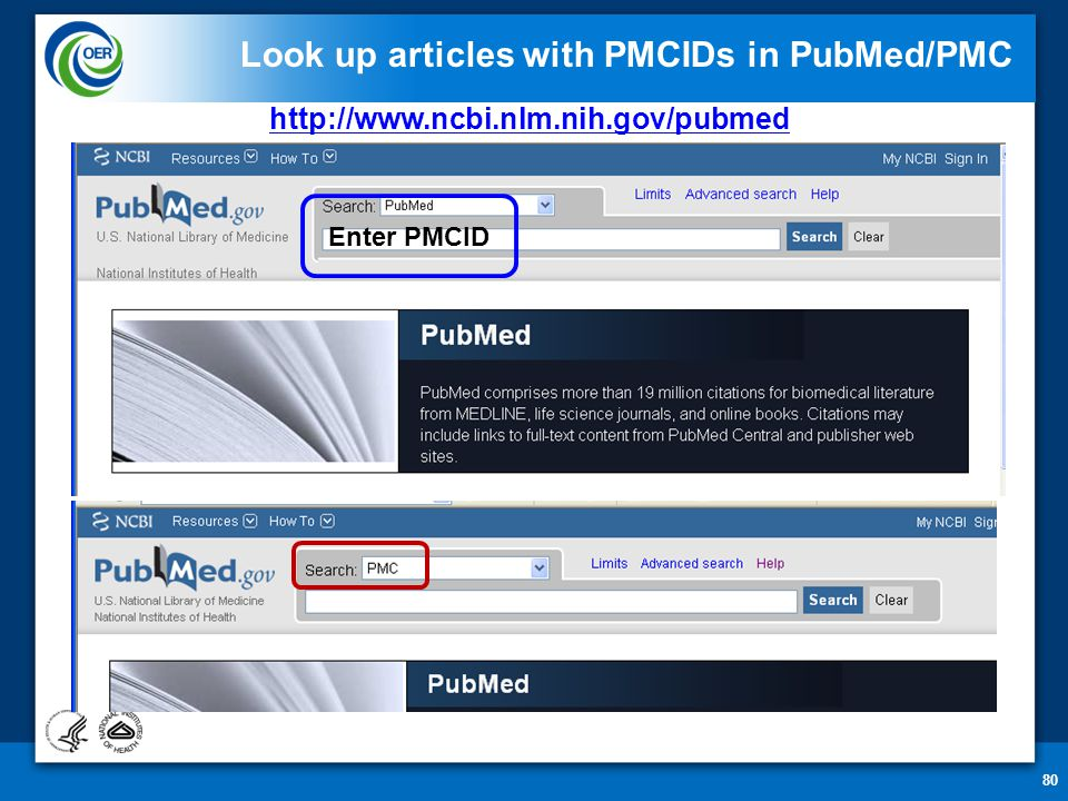 80 Look up articles with PMCIDs in PubMed/PMC Enter PMCID http://www.ncbi.nlm.nih.gov/pubmed
