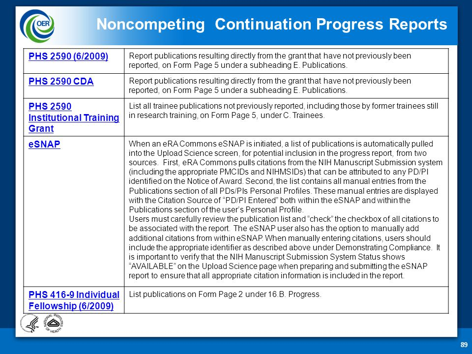 89 Noncompeting Continuation Progress Reports PHS 2590 (6/2009) Report publications resulting directly from the grant that have not previously been reported, on Form Page 5 under a subheading E.