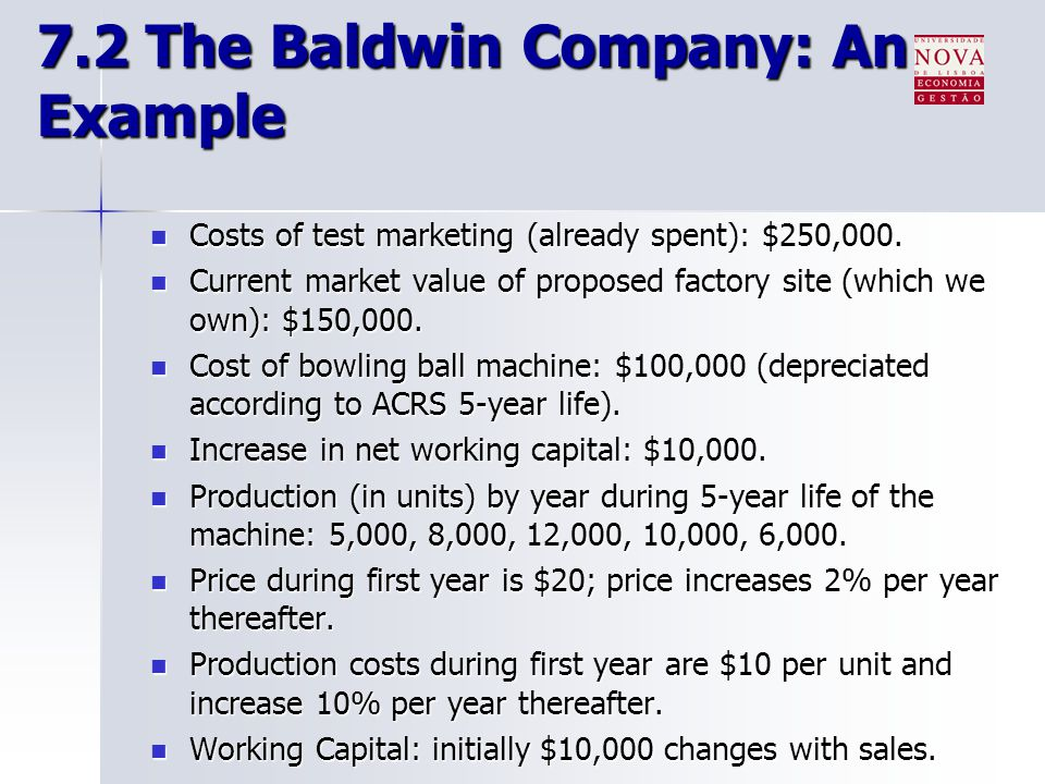 7.2 The Baldwin Company: An Example Costs of test marketing (already spent): $250,000. Costs of test marketing (already spent): $250,000. Current mark