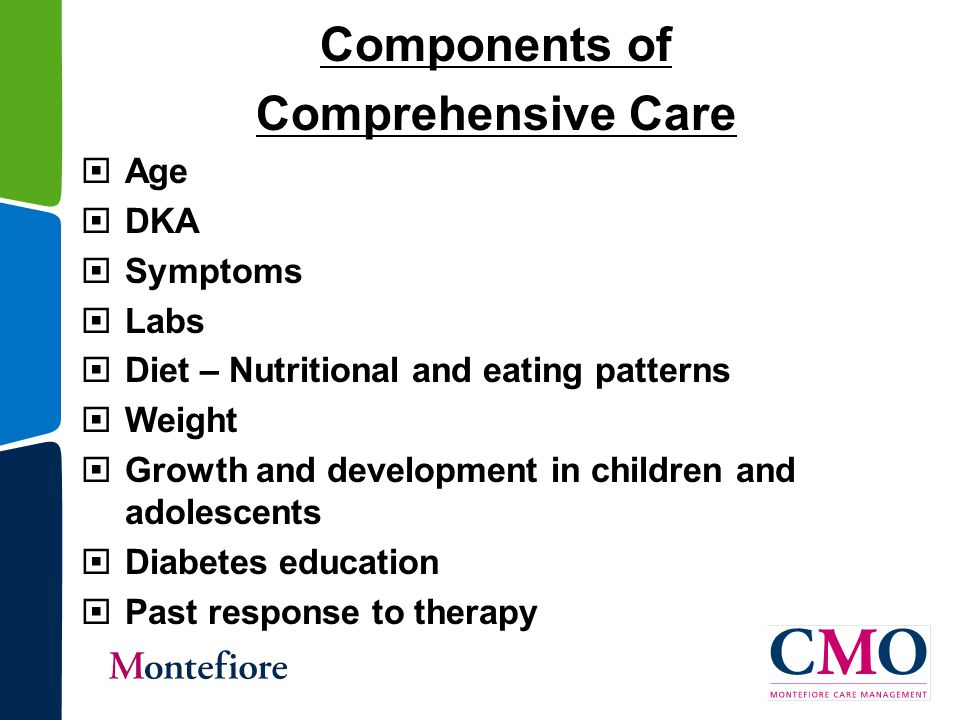 Components of Comprehensive Care  Age  DKA  Symptoms  Labs  Diet – Nutritional and eating patterns  Weight  Growth and development in children and adolescents  Diabetes education  Past response to therapy