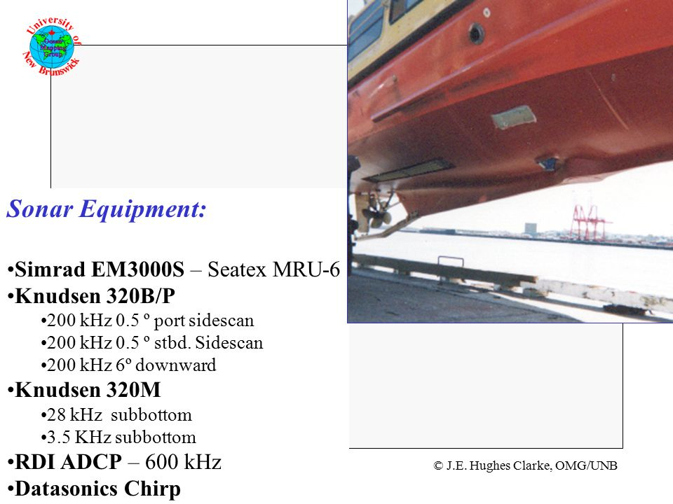 © J.E. Hughes Clarke, OMG/UNB GGE 5083 Hydrogrpahic Field Operations Sonar Equipment: Simrad EM3000S – Seatex MRU-6 Knudsen 320B/P 200 kHz 0.5 º port