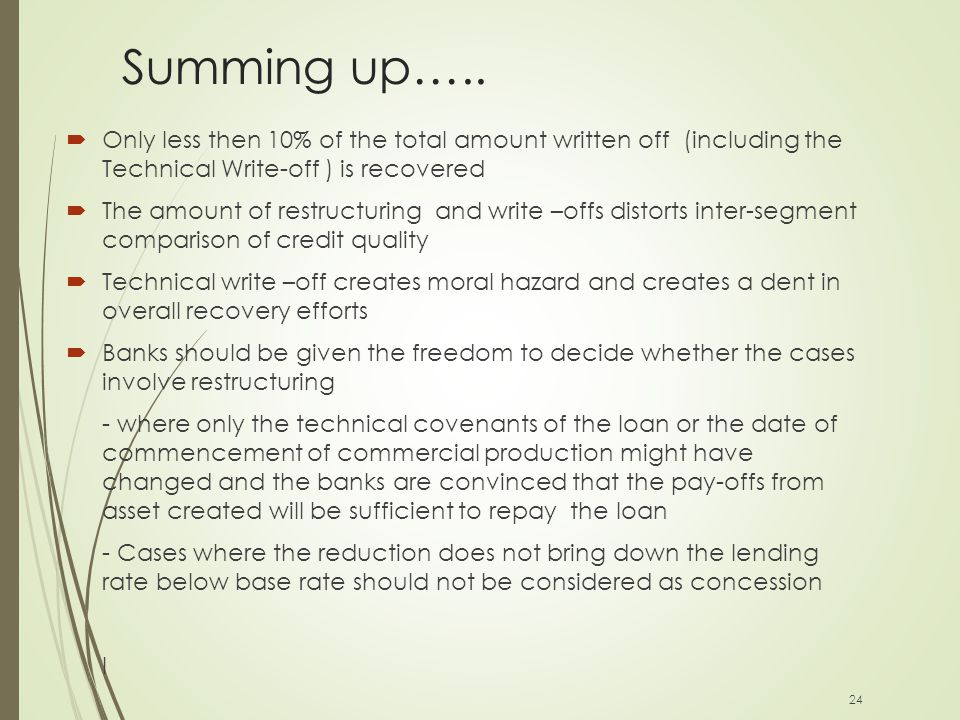 Summing up…..  Only less then 10% of the total amount written off (including the Technical Write-off ) is recovered  The amount of restructuring and