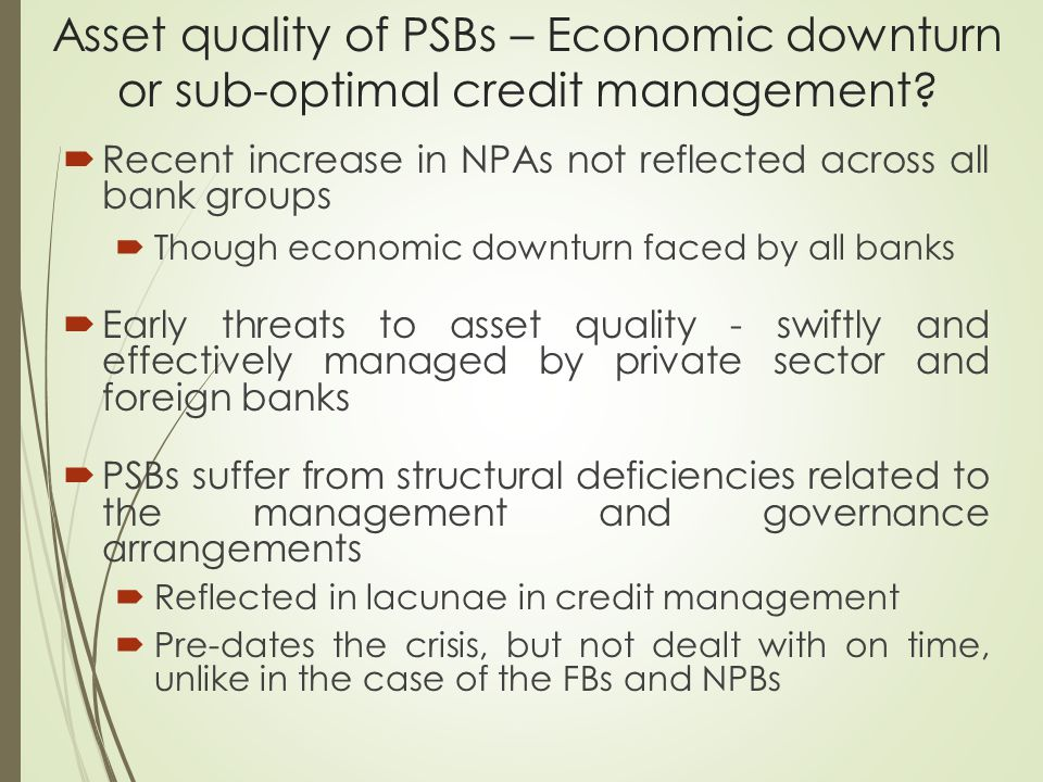 Asset quality of PSBs – Economic downturn or sub-optimal credit management.