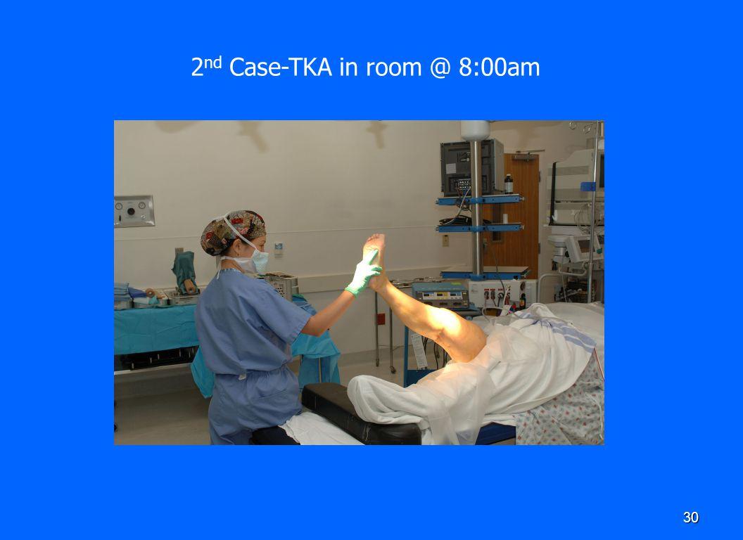 30 2 nd Case-TKA in room @ 8:00am
