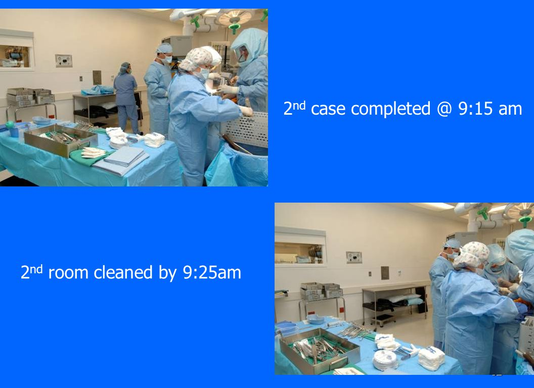 32 2 nd case completed @ 9:15 am 2 nd room cleaned by 9:25am